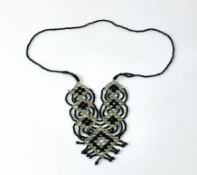 1950s Black And white Beadwork Necklace